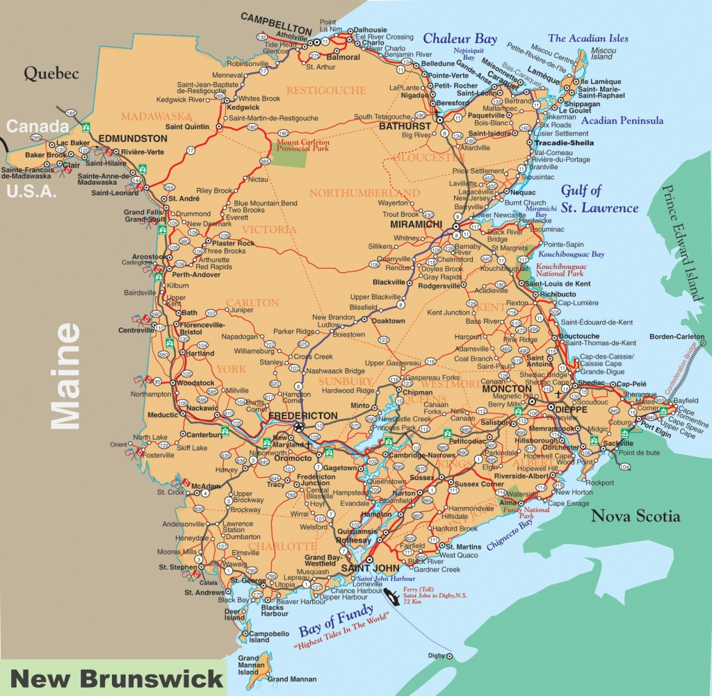 New Brunswick Road Map - Printable Map Of New Brunswick