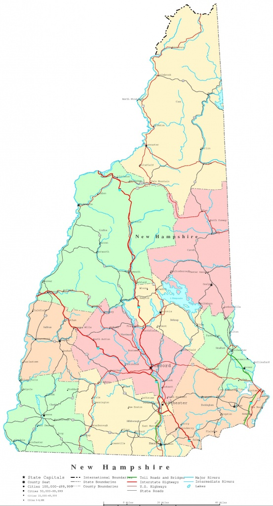 New Hampshire Printable Map - Printable Road Map Of New Hampshire