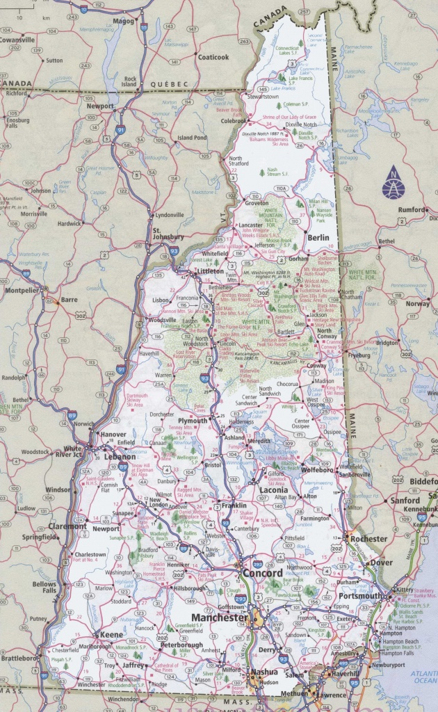 New Hampshire Road Map - Printable Map Of New Hampshire