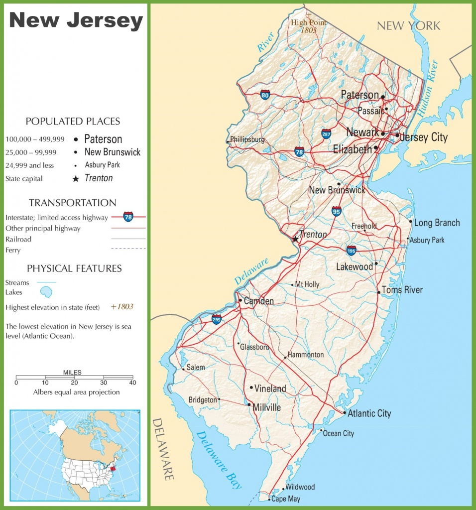 New Jersey Highway Map - Printable Map Of New Jersey