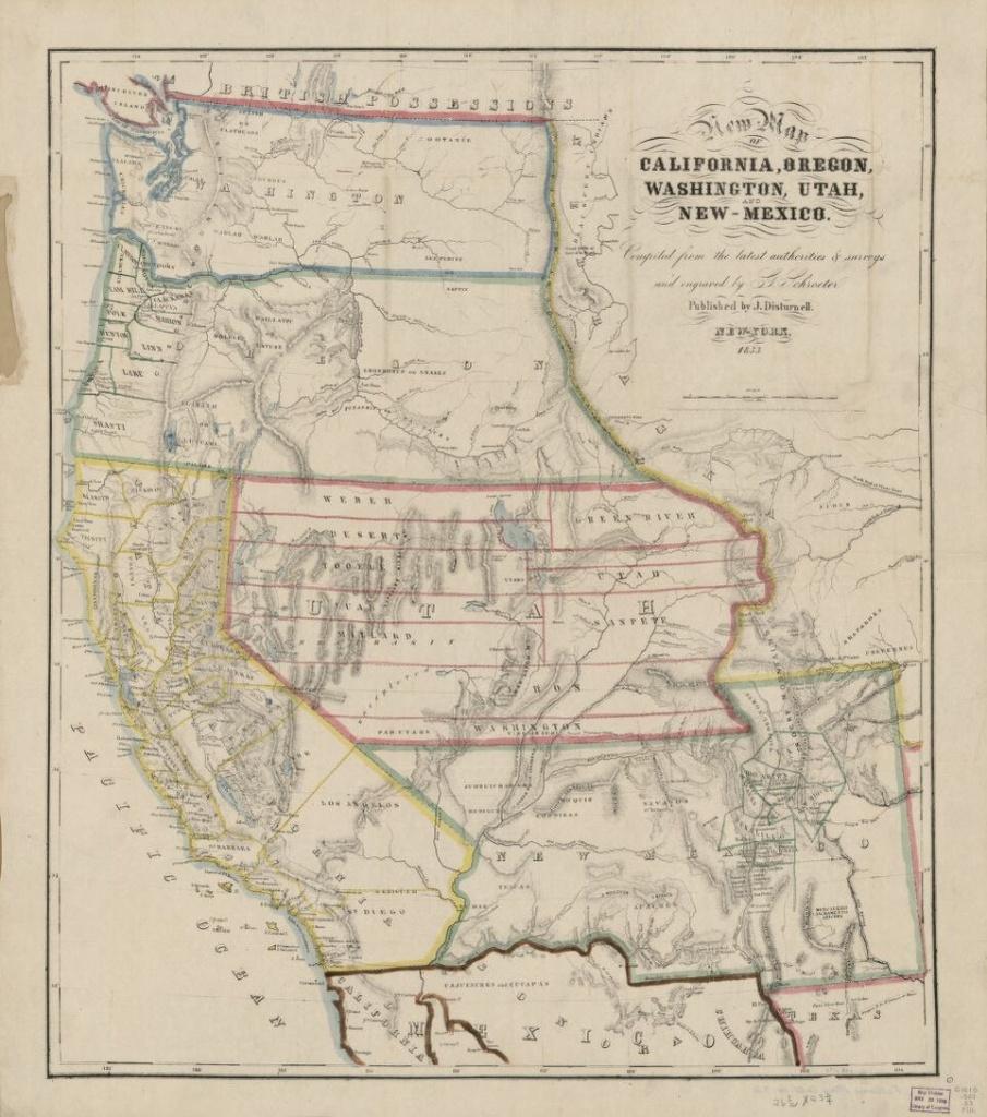 New Map Of California, Oregon, Washington, Utah And New Mexico - California Oregon Washington Map