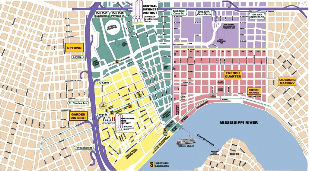 New Orleans Area Maps   On The Town - Printable Map Of New Orleans