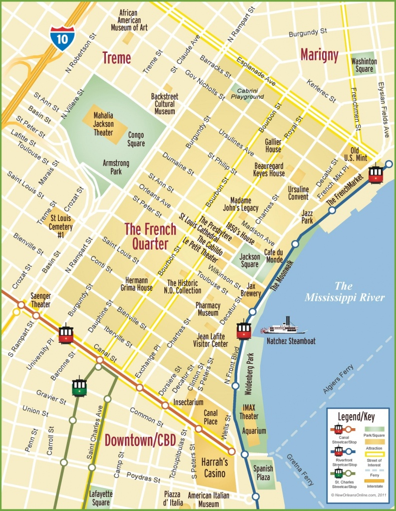 New Orleans French Quarter Map - Us Quarter Map Printable