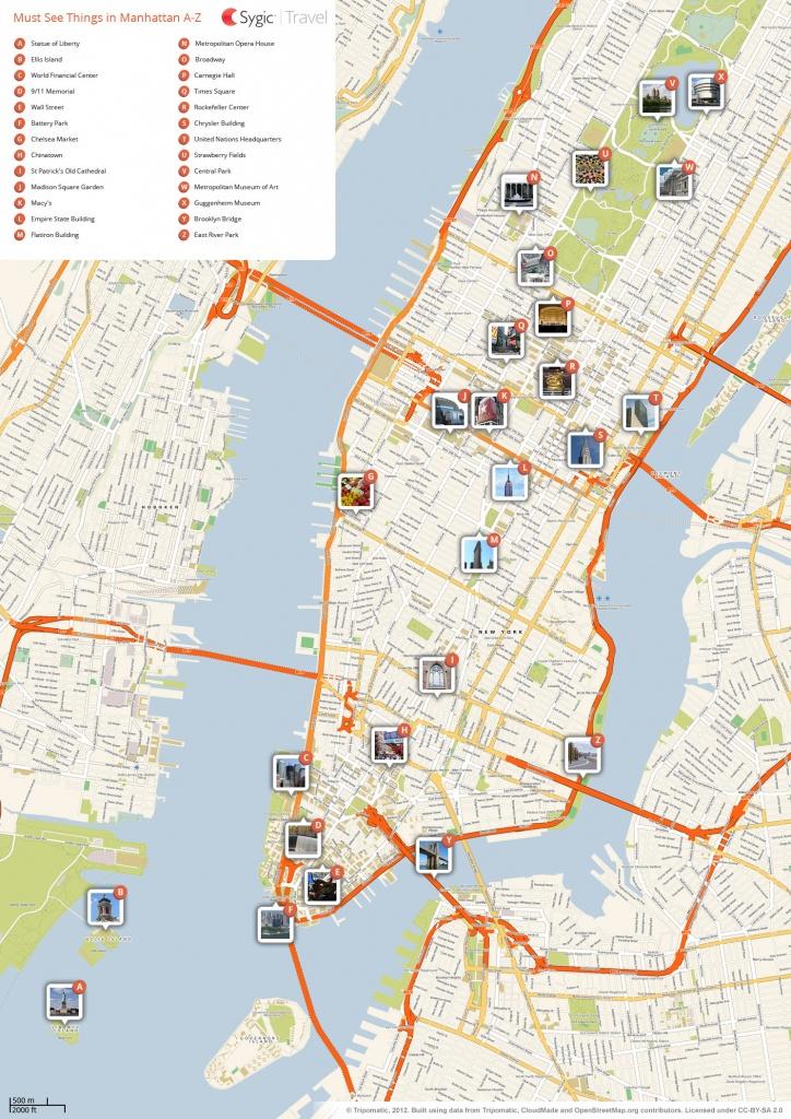 New York City Manhattan Printable Tourist Map   Sygic Travel - Map Of Midtown Manhattan Printable