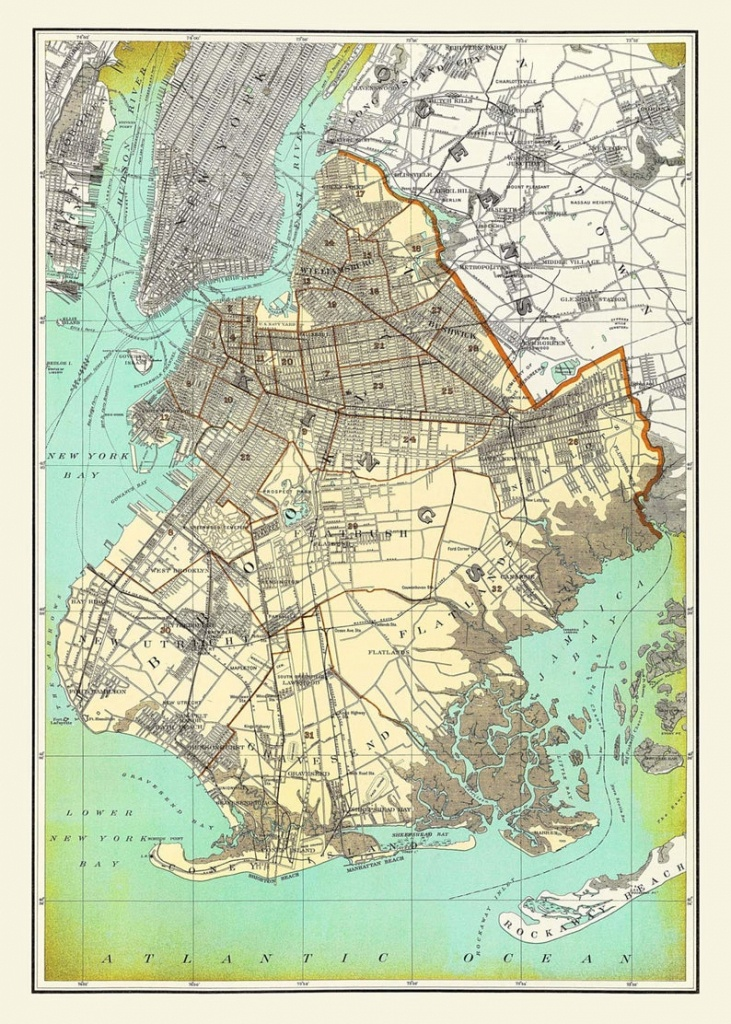 New York City Map Brooklyn Street Map Vintage | Etsy - Printable Map Of Brooklyn
