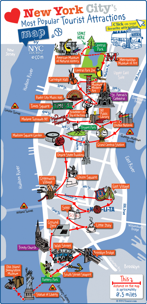 New York City Most Popular Attractions Map - Printable Tourist Map Of Manhattan
