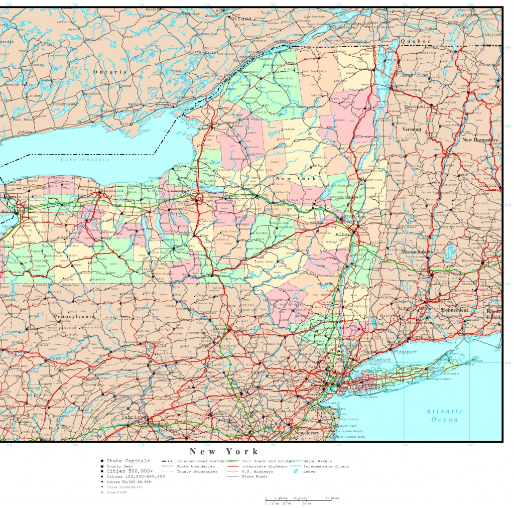 New York Political Map - Printable Map Of New York State