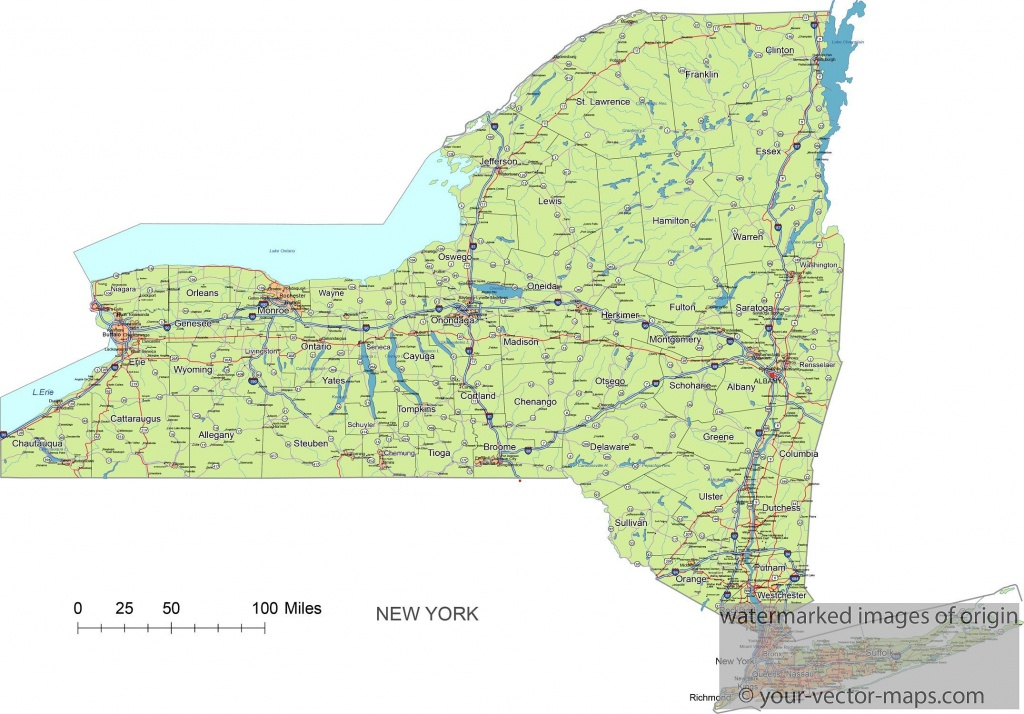 New York State Route Network Map. New York Highways Map. Cities Of - Printable Map Of New York State