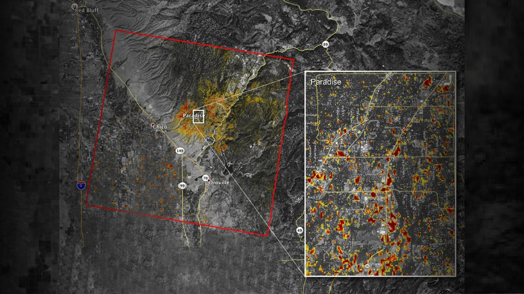 News | Updated Nasa Damage Map Of Camp Fire From Space - Live Satellite Map California