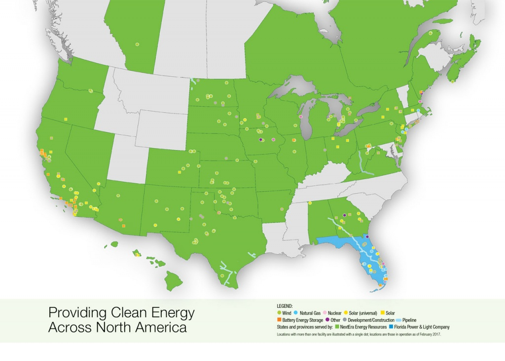 Nextera Energy Resources   Locations Map - Florida Power Companies Map