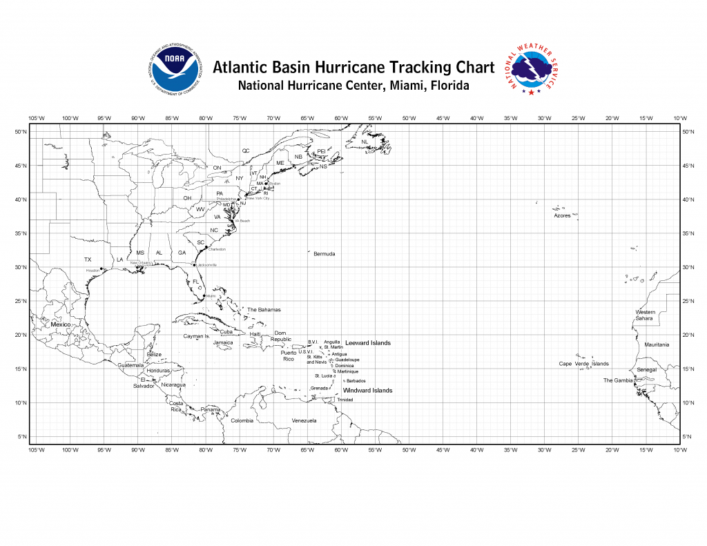 Nhc Blank Tracking Charts - Printable Weather Maps For Students