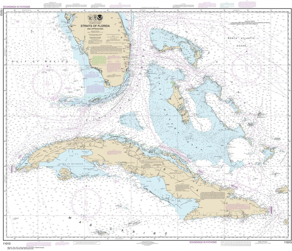 Noaa Chart 11013. Nautical Chart Of Straits Of Florida And - Nautical Maps Florida