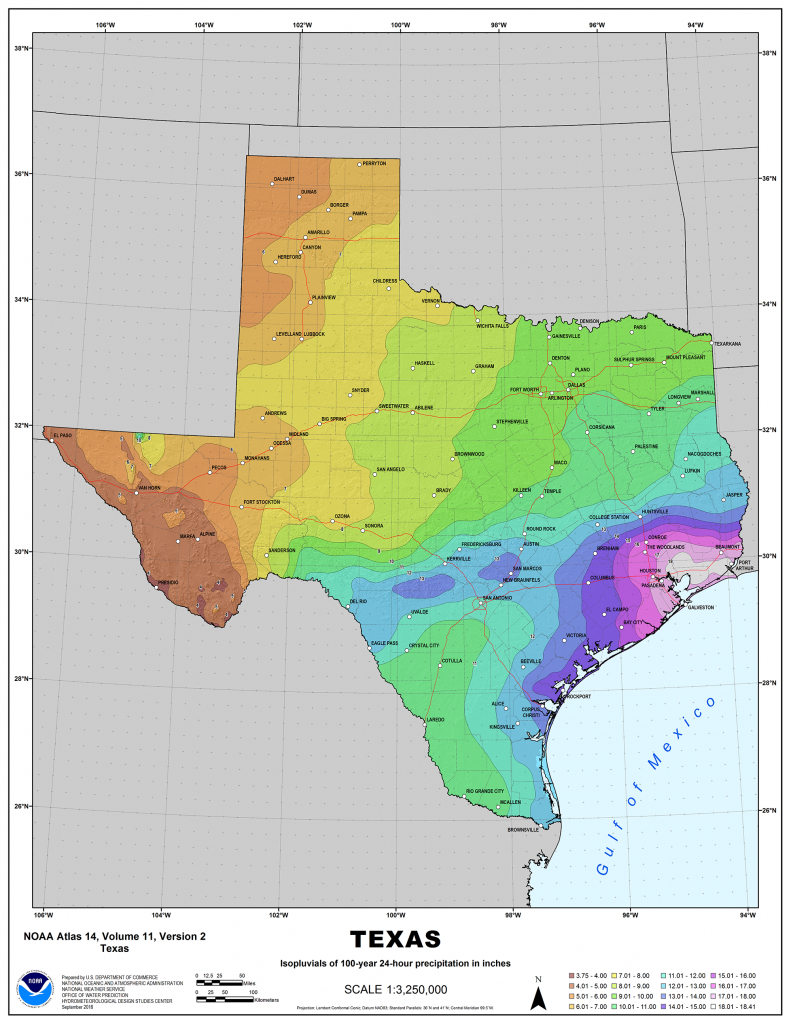 Noaa Updates Texas Rainfall Frequency Values | National Oceanic And - 100 Year Floodplain Map Texas