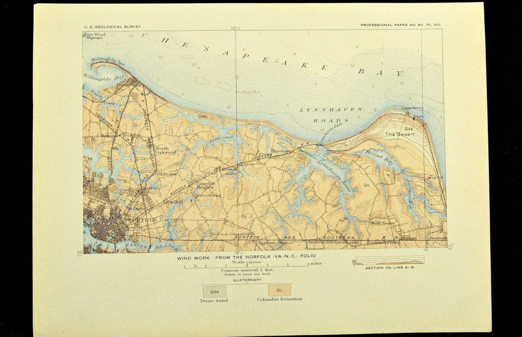 Norfolk Map Of Norfolk Virginia Topographic Print Antique Usgs Ocean - Printable Map Of Norfolk Va