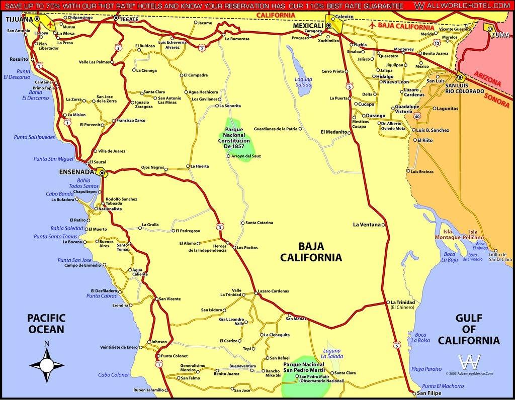 North Baja California - Maplets - Baja California Road Map