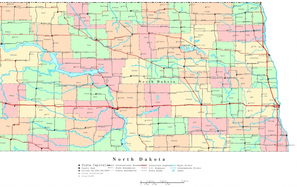 North Dakota Printable Map - Printable Map Of North Dakota