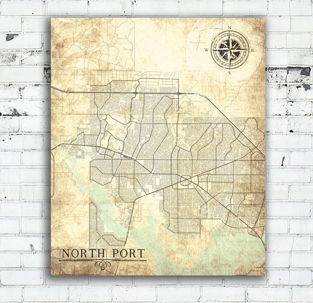 North Port Fl Canvas Print Florida Fl Vintage Map North Port Fl City - Where Is North Port Florida On A Map