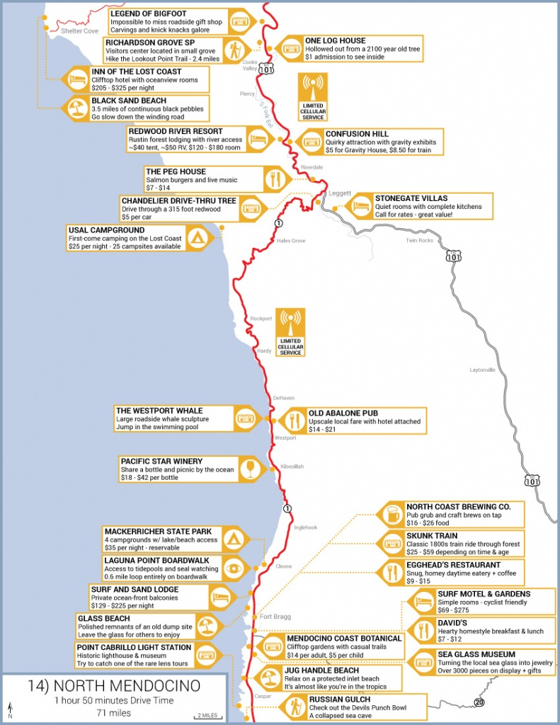 Northern California Highway 1 Road Trip Guide - Camping Northern California Coast Map