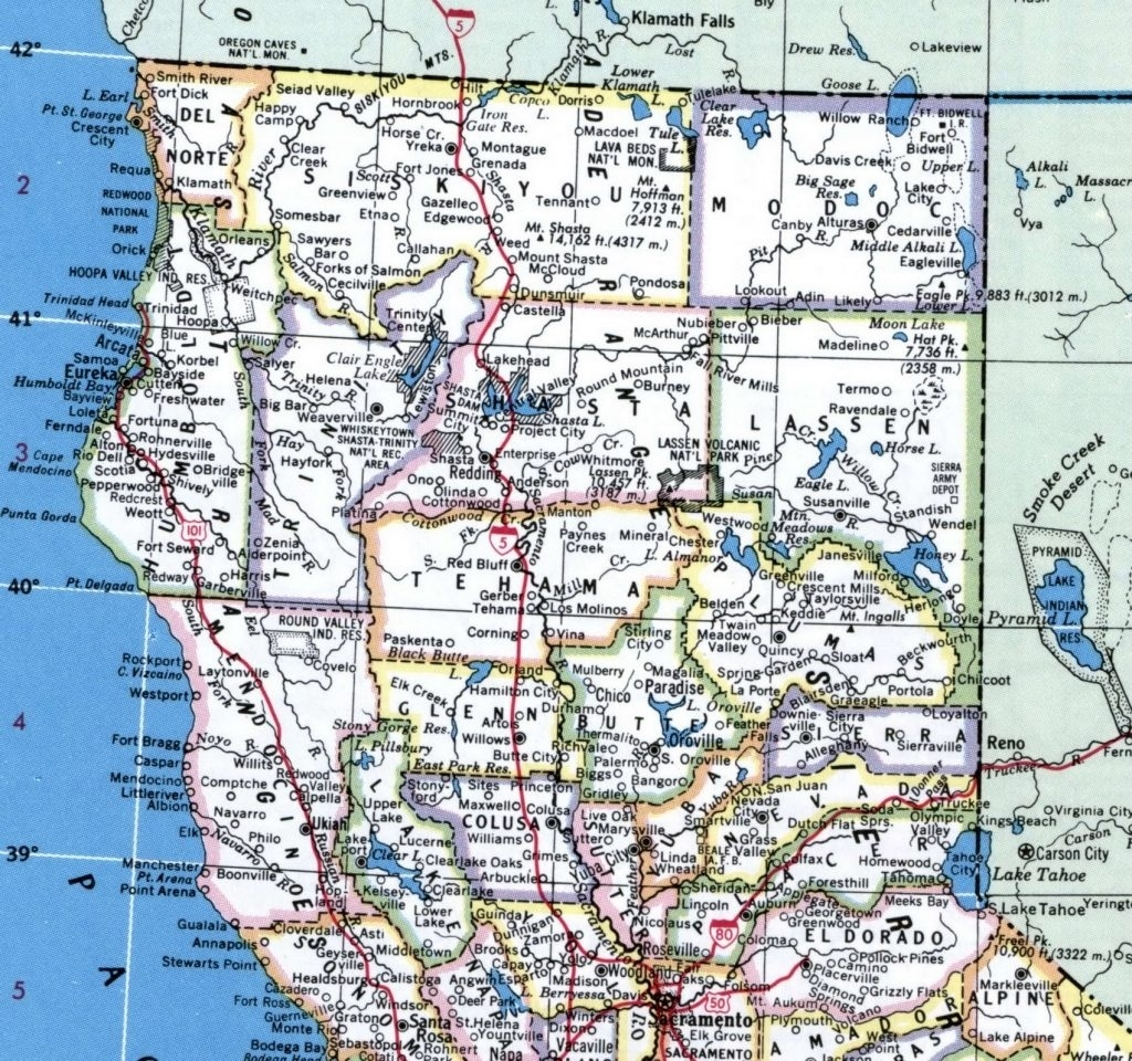 Northern California Map California Map With Cities Northern Intended - California Beach Cities Map