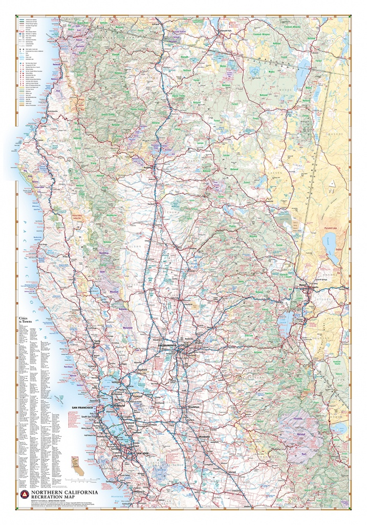 Northern California Recreation Wall Map — Benchmark Maps - Northern California Wall Map