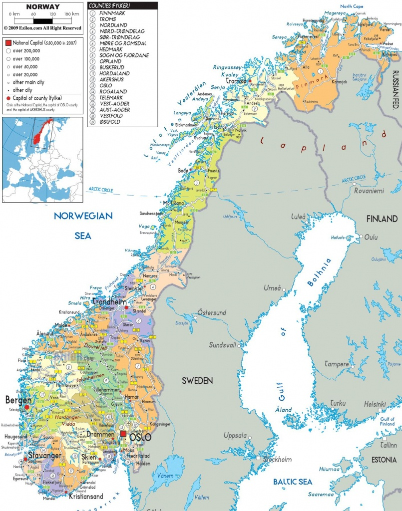 Norway    And Administrative Map Of Norway With All Roads, Cities - Printable Map Of Norway With Cities
