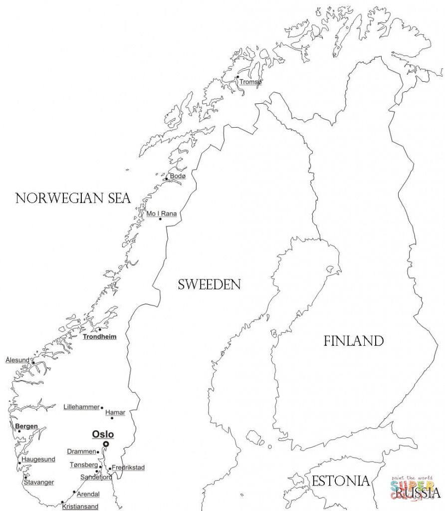 Norway Map With Cities Coloring Page   Free Printable Coloring Pages - Printable Map Of Norway With Cities