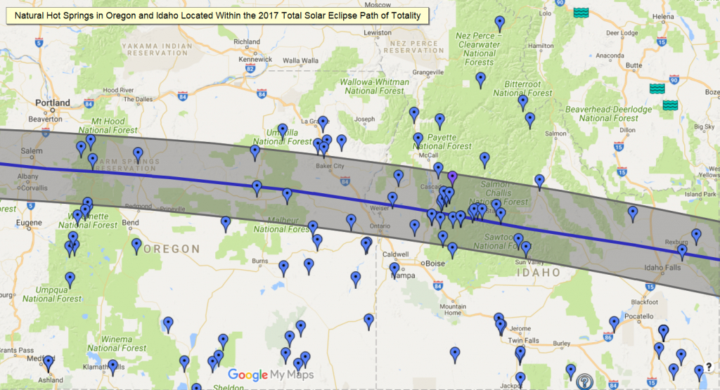 Nw Hot Springs In The Path Of Totality - 2017 Solar Eclipse - Hot Springs California Map