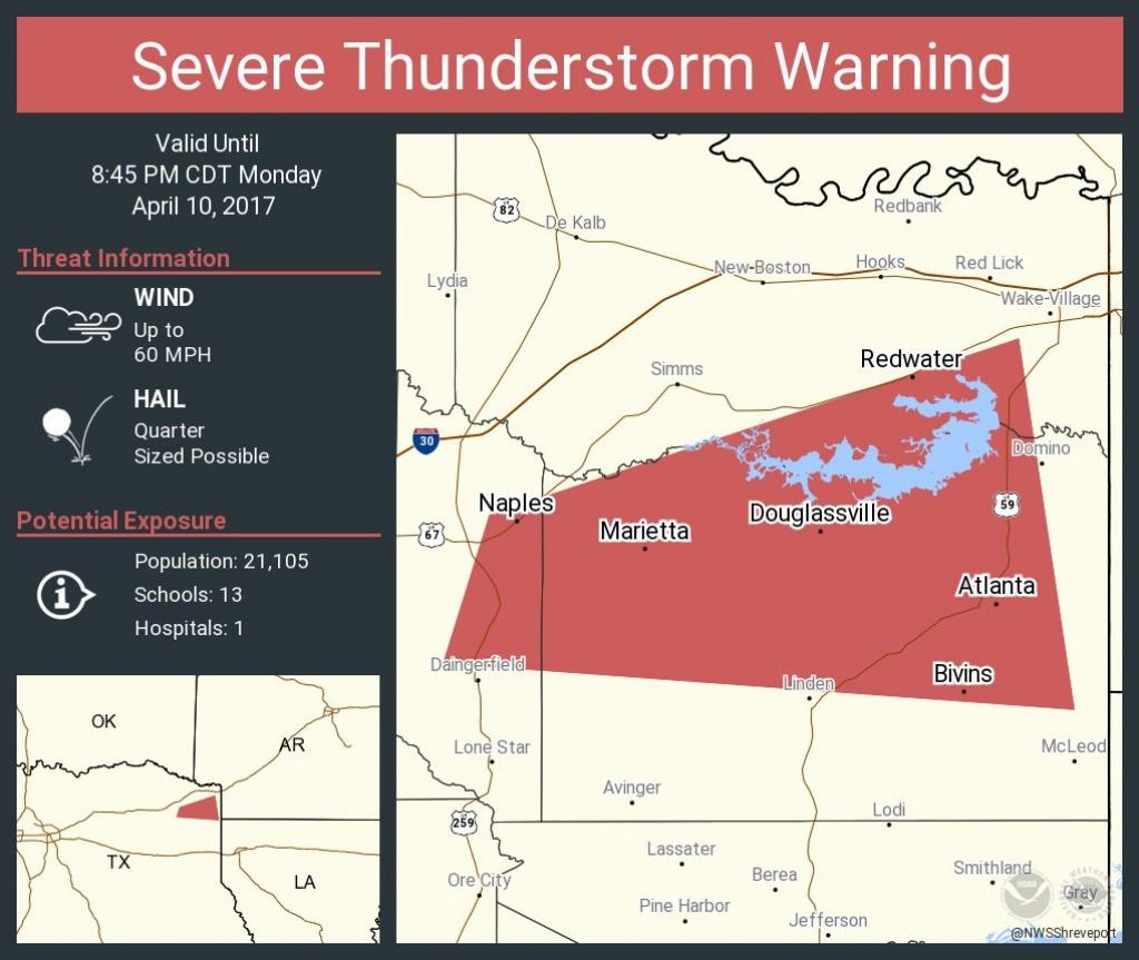"Nws Shreveport On Twitter: ""severe Thunderstorm Warning Continues - Atlanta Texas Map"