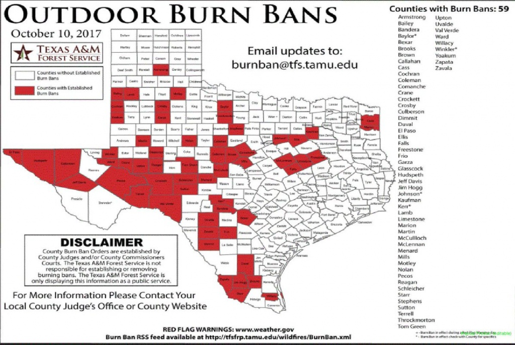 "Nws Shreveport On Twitter: ""texas Burn Bans In Effect. #txwx - Texas Burn Ban Map"