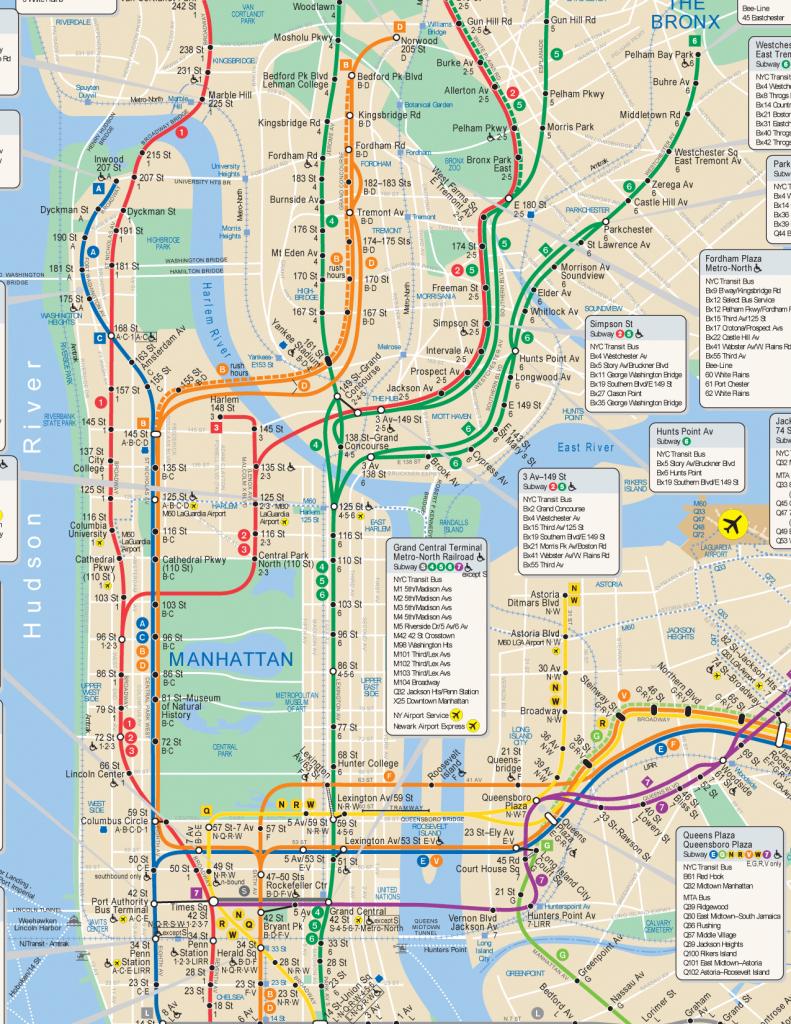 Nyc Subway Map Hi Res - Manhattan Subway Map Printable