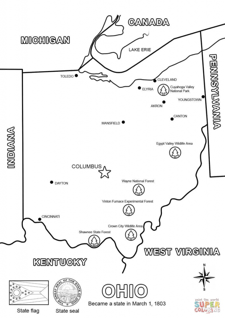 Ohio Map Coloring Page | Free Printable Coloring Pages - Printable Map Of Ohio