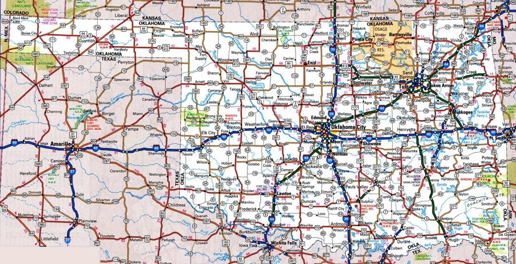 Oklahoma Road Map - Map Of North Texas And Oklahoma