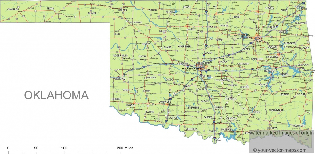 Oklahoma State Route Network Map. Oklahoma Highways Map. Cities Of - Oklahoma State Map Printable