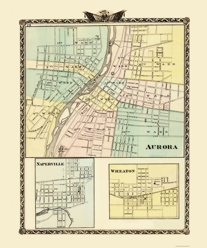Old City Map - Aurora, Wheaton, Naperville Illinois 1870 - Printable Map Of Naperville Il
