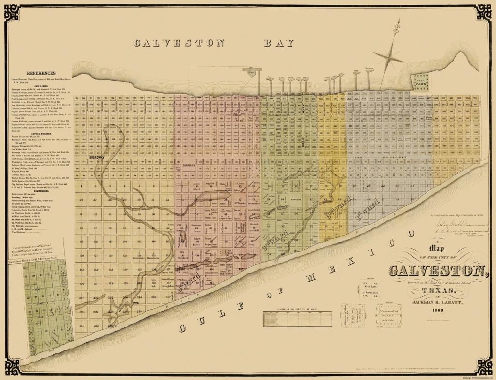 Old City Map - Galveston Texas Landowner - Labatt 1869 - Map Of Galveston Texas