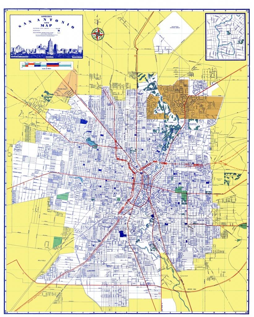 Old City Map - San Antonio Texas - Ashburn 1950 - San Antonio Texas Maps
