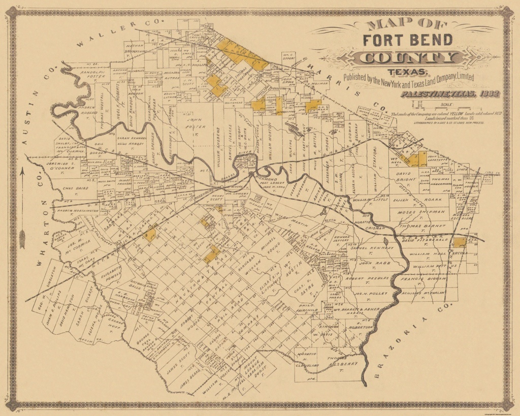 Old County Map - Fort Bend Texas Landowner - 1882 - Topographic Map Of Fort Bend County Texas