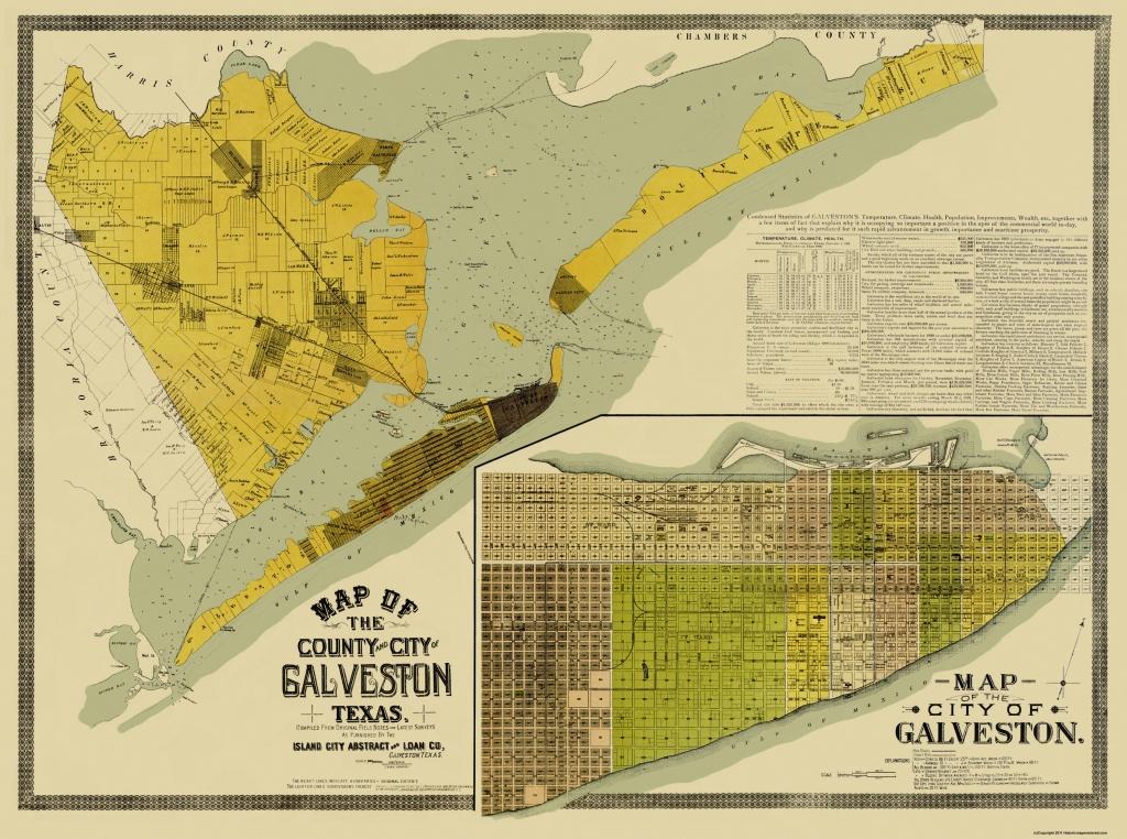 Old County Map - Galveston Texas Landowner - 1890 - Map Of Galveston Texas