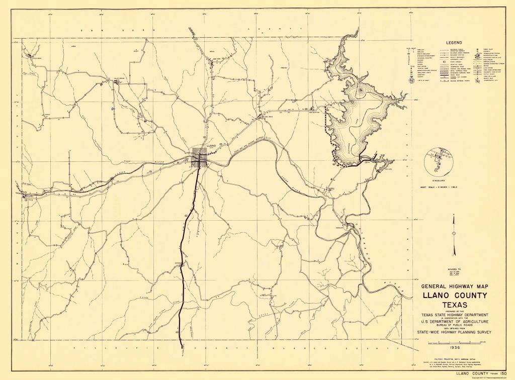 Old County Map - Llano Texas - Highway Dept 1936 - Llano Texas Map