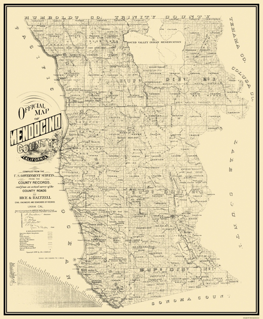 Old County Map - Mendocino California - Rice 1890 - Mendocino County California Map