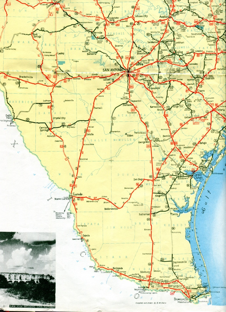 Old Highway Maps Of Texas - South Texas Road Map