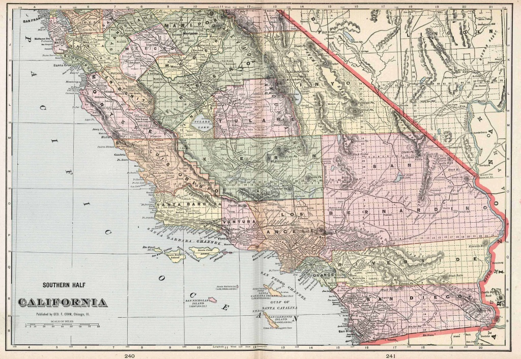 Old Historical City, County And State Maps Of California - Relief Map Of Southern California