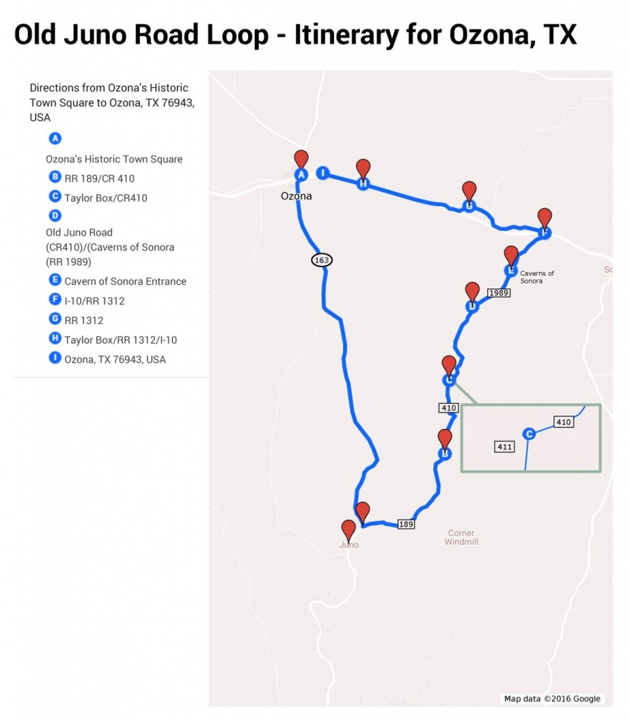 Old Juno Road Itinerary :: Ozona, Texas - Ozona Texas Map
