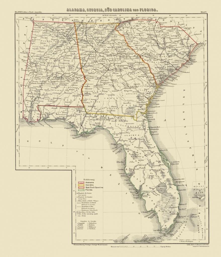 Old Map - Alabama, Georgia, South Carolina, Florida 1854 - Map Of Alabama And Florida