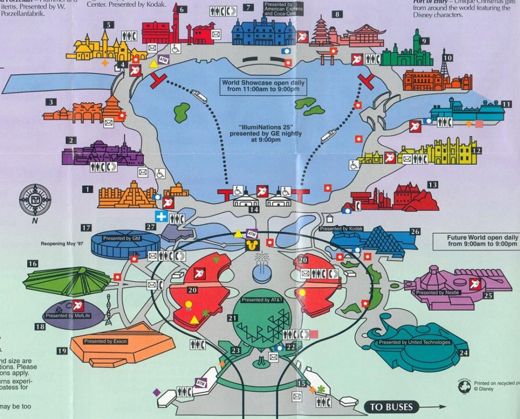 Old Map Of Epcot   Disney   Disney World Map, Epcot, Disneyland Map - Epcot Florida Map