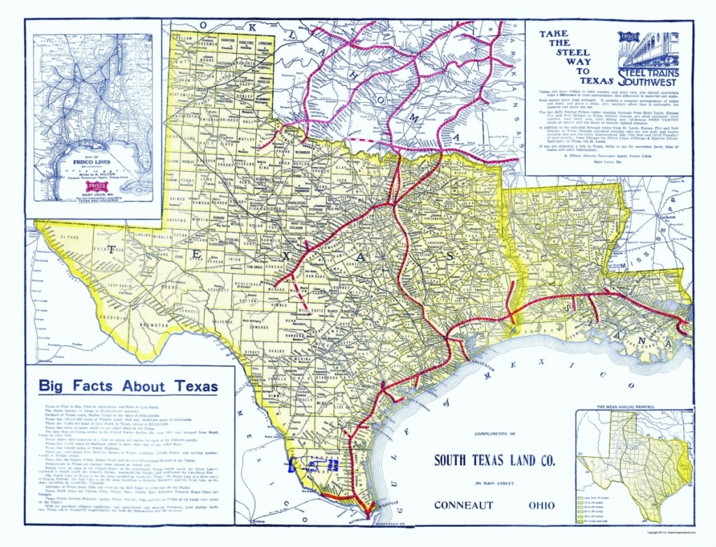 Old Railroad Map - Frisco Lines 1911 - Frisco Texas Map