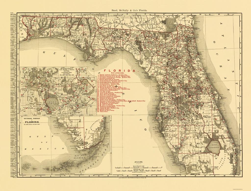 Old State Map - Florida - Rand Mcnally 1900 - Florida Map 1900