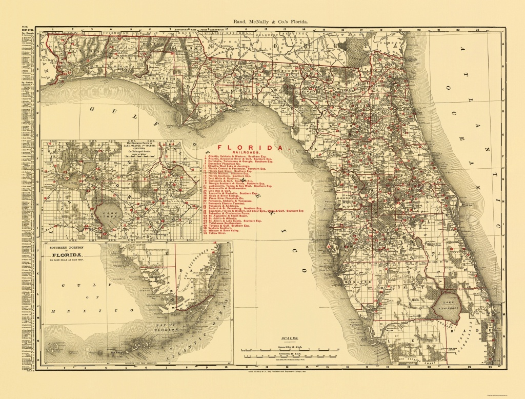 Old State Map - Florida - Rand Mcnally 1900 - Florida Old Map