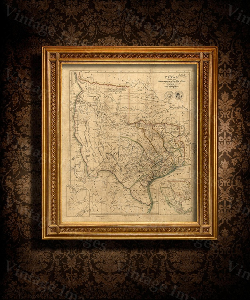 Old Texas Wall Map 1841 Historical Texas Map Antique Decorator - Vintage Texas Map Framed