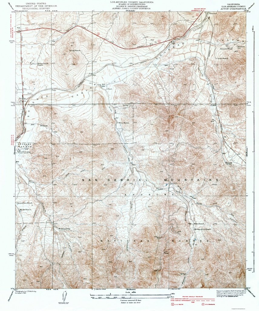 Old Topographical Map - Acton California 1939 - Usgs Printable Maps
